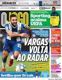 capa Jornal O Jogo de 17 setembro 2020