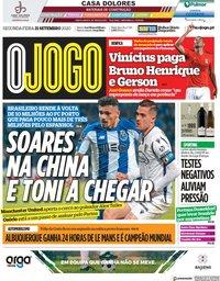 capa Jornal O Jogo de 21 setembro 2020