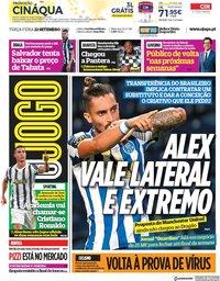 capa Jornal O Jogo de 22 setembro 2020