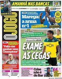 capa Jornal O Jogo de 24 setembro 2020