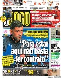 capa Jornal O Jogo de 26 setembro 2020