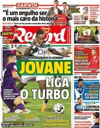 capa Jornal Record de 5 setembro 2020