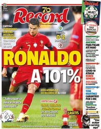 capa Jornal Record de 9 setembro 2020