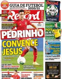 capa Jornal Record de 10 setembro 2020