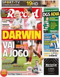 capa Jornal Record de 18 setembro 2020
