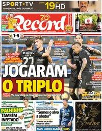 capa Jornal Record de 19 setembro 2020