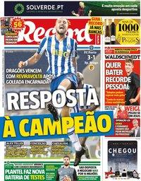 capa Jornal Record de 20 setembro 2020
