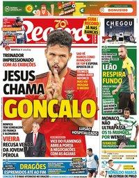capa Jornal Record de 21 setembro 2020
