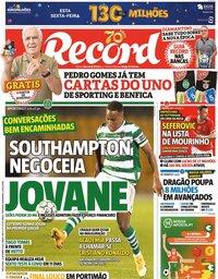 capa Jornal Record de 22 setembro 2020