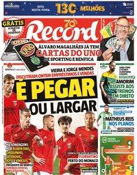 capa Jornal Record de 23 setembro 2020