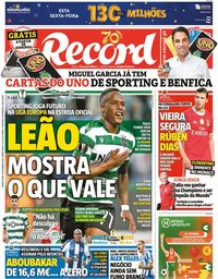 capa Jornal Record de 24 setembro 2020