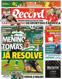 capa Jornal Record de 25 setembro 2020