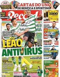 capa Jornal Record de 28 setembro 2020