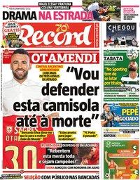 capa Jornal Record de 30 setembro 2020