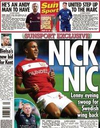 capa Jornal Sun Sport de 29 setembro 2020