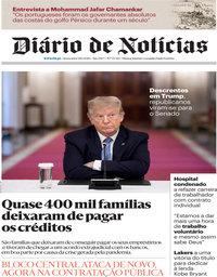 capa Diário de Notícias de 9 outubro 2020