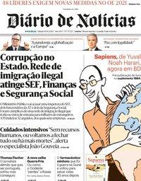 capa Diário de Notícias de 10 outubro 2020