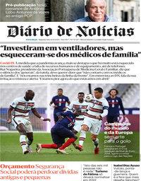 capa Diário de Notícias de 12 outubro 2020