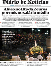 capa Diário de Notícias de 13 outubro 2020