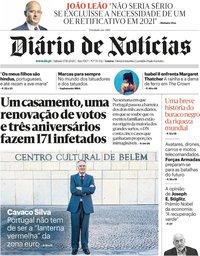 capa Diário de Notícias de 17 outubro 2020