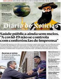 capa Diário de Notícias de 21 outubro 2020