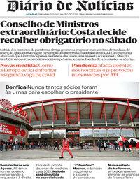 capa Diário de Notícias de 29 outubro 2020