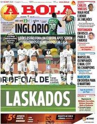 capa Jornal A Bola de 2 outubro 2020