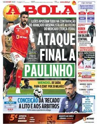 capa Jornal A Bola de 3 outubro 2020