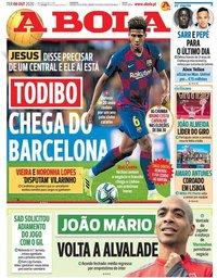capa Jornal A Bola de 6 outubro 2020