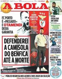 capa Jornal A Bola de 7 outubro 2020