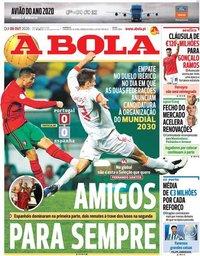 capa Jornal A Bola de 8 outubro 2020