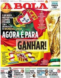 capa Jornal A Bola de 9 outubro 2020