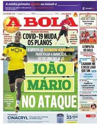 capa Jornal A Bola de 10 outubro 2020
