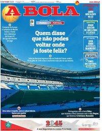 capa Jornal A Bola de 11 outubro 2020
