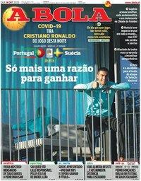 capa Jornal A Bola de 14 outubro 2020