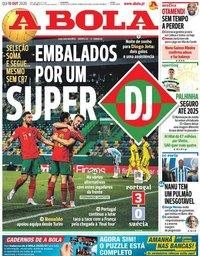capa Jornal A Bola de 15 outubro 2020