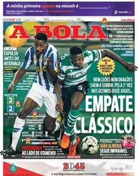 capa Jornal A Bola de 18 outubro 2020