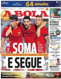 capa Jornal A Bola de 19 outubro 2020