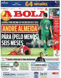 capa Jornal A Bola de 20 outubro 2020