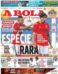 capa Jornal A Bola de 23 outubro 2020