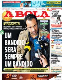 capa Jornal A Bola de 24 outubro 2020