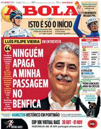 capa Jornal A Bola de 26 outubro 2020