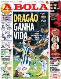 capa Jornal A Bola de 28 outubro 2020
