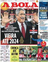capa Jornal A Bola de 29 outubro 2020