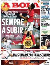 capa Jornal A Bola de 30 outubro 2020