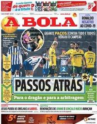 capa Jornal A Bola de 31 outubro 2020