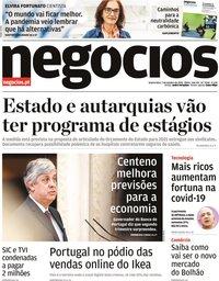 capa Jornal de Negócios de 7 outubro 2020