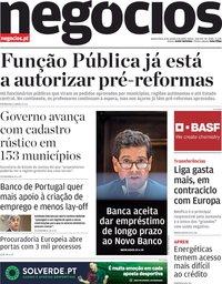 capa Jornal de Negócios de 8 outubro 2020