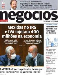 capa Jornal de Negócios de 12 outubro 2020