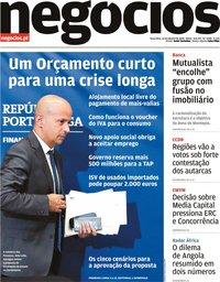 capa Jornal de Negócios de 13 outubro 2020